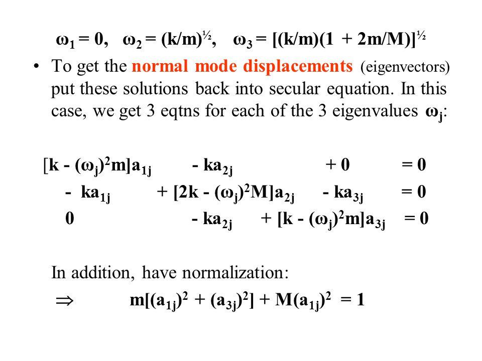 ω1 = 0, ω2 = (k/m)½, ω3 = [(k/m)(1 + 2m/M)]½